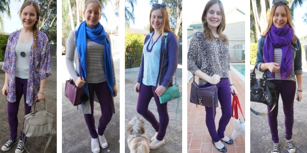 5 ways to wear purple jeans with other purple pieces in an outfit | away from blue