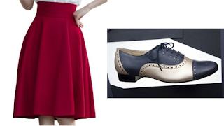 Saia godê e sapatos Oxford bicolores