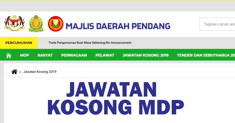 Jawatan Kosong di Majlis Daerah Pendang MDP