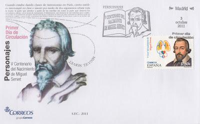 Sobre PDC del sello del V Centenario del nacimiento del científico Miguel Servet