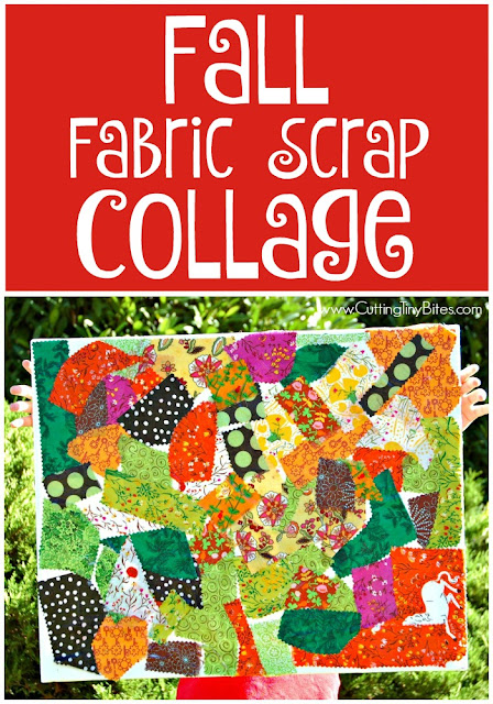 Fall Fabric Scrap Collage. Process art for toddlers, preschoolers, or elementary kids. Bright and colorful, great way to make REAL art with children and use up some fabric scraps while you're at it!