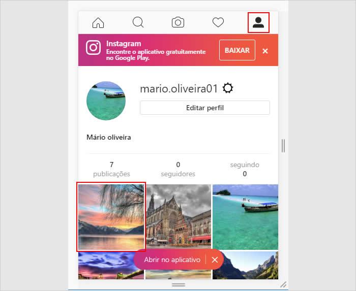 Acessando o perfil do Instagram para visualizar a foto publicada