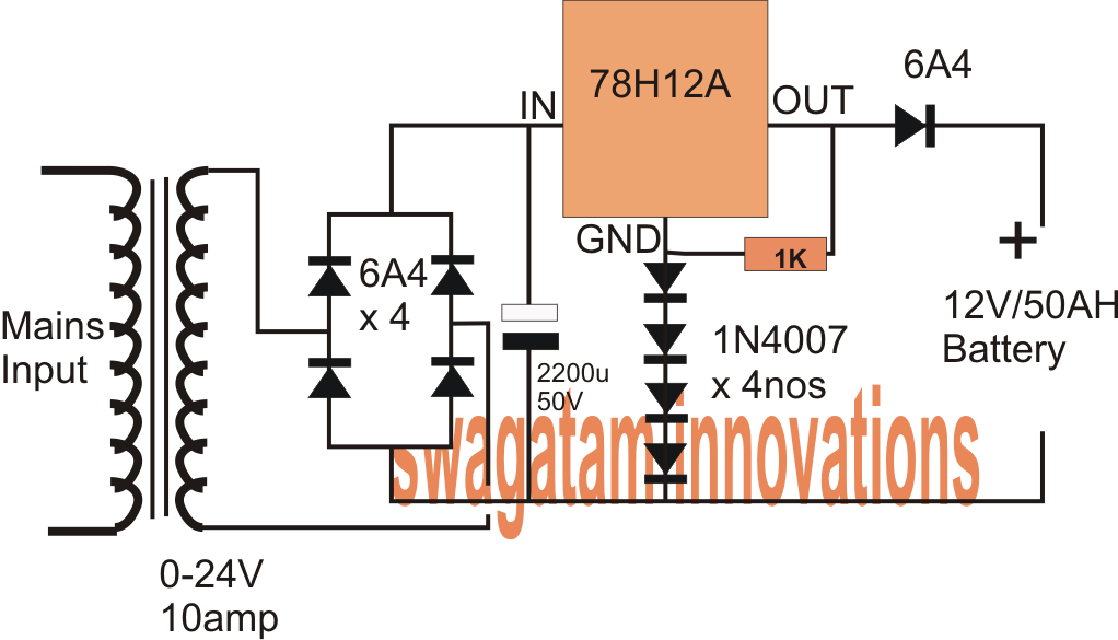 5 Watt Led Driver Circuit Diagram Danlers Pir Wiring 12v Amp Fixed Voltage Regulator Ic 78h12a Datasheet, Application Note