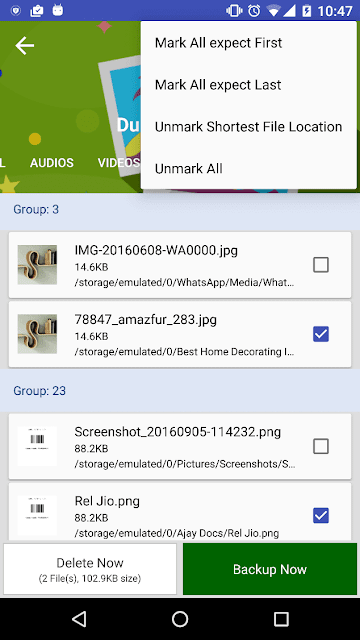 Hasil pemindaian file duplikat