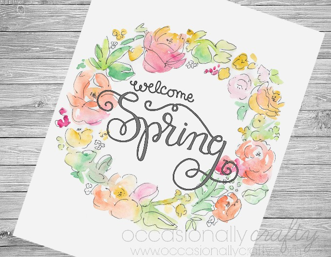 Celebrate spring with this watercolor wreath spring free printable!