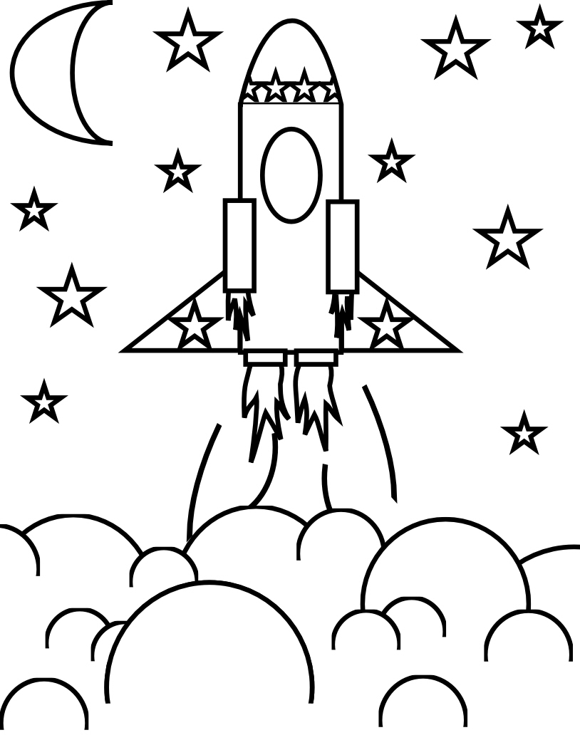 Rocket ship coloring pages for kids for Rocket coloring page