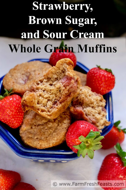 The winning combination of strawberries, brown sugar, and sour cream flavors these whole grain muffins.