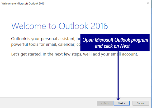 Microsoft Outlook Configuration Start