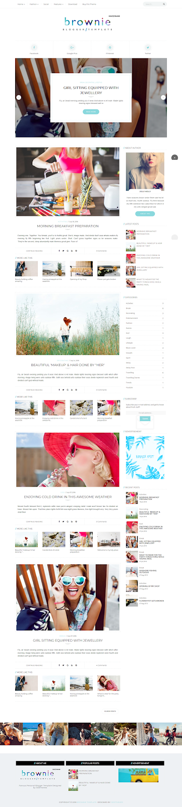 Brownie Personal Blogger Template