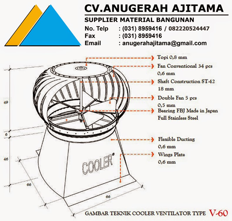 TURBINE VENTILATOR COOLER TYPE V-60