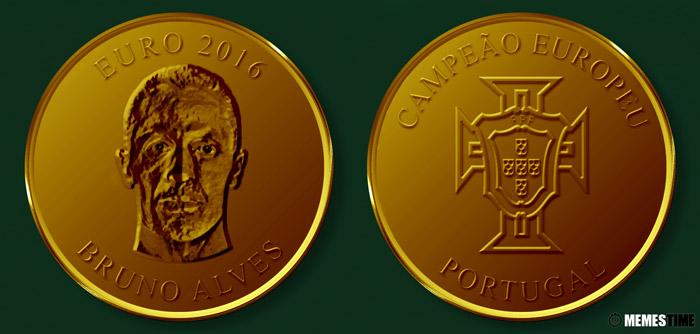 Meme com Medalha Comemorativa da Conquista do Euro 2016 pela Seleção Nacional de Portugal – Bruno Alves