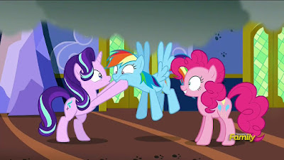 Starlight, Rainbow Dash and Pinkie Pie, the last two mind-controlled
