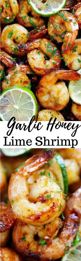 Garlic Honey Lime Shrimp #dinner