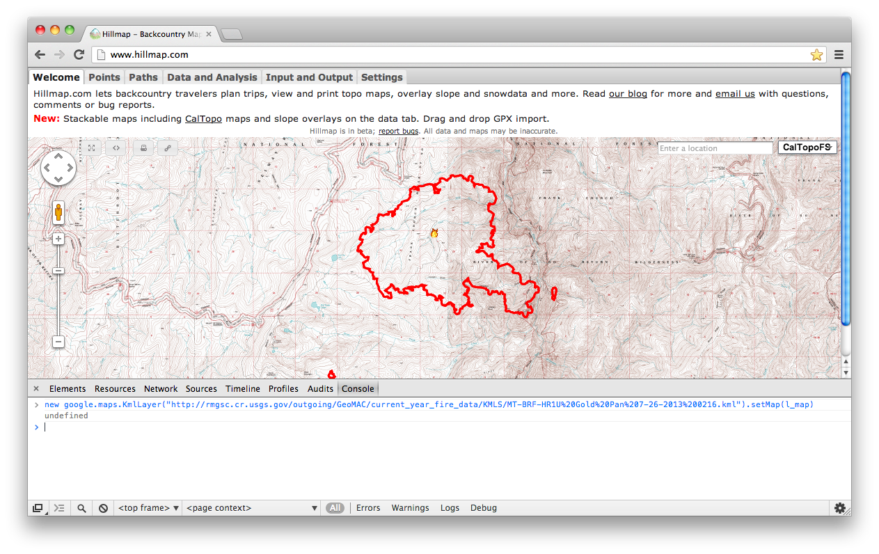 Free the Hills: View Wildfire (or any kml) data on topographic maps