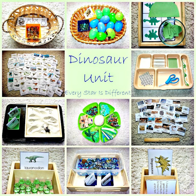 Montessori-inspired dinosaur learning activities and free printables for kids.