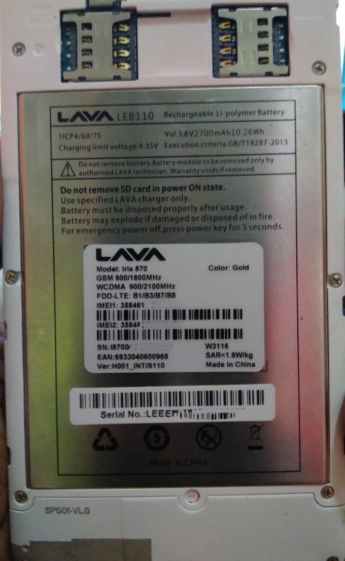 LAVA IRIS 870 FLASH FILE FIRMWARE (STOCK ROM)