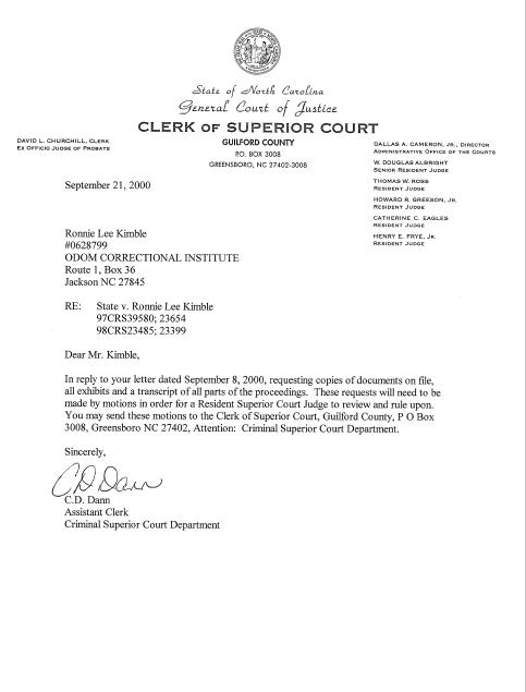 The Kimble Brothers: September 21, 2000 Superior Court reply to