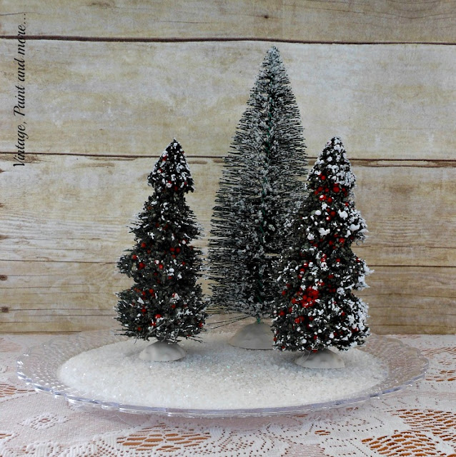 "Vintage, Paint and more... bottle brush trees and ""faux"" snow create a snow scene"