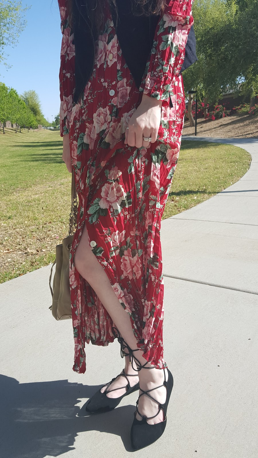 vintage pleated maxi dress with lace up flats