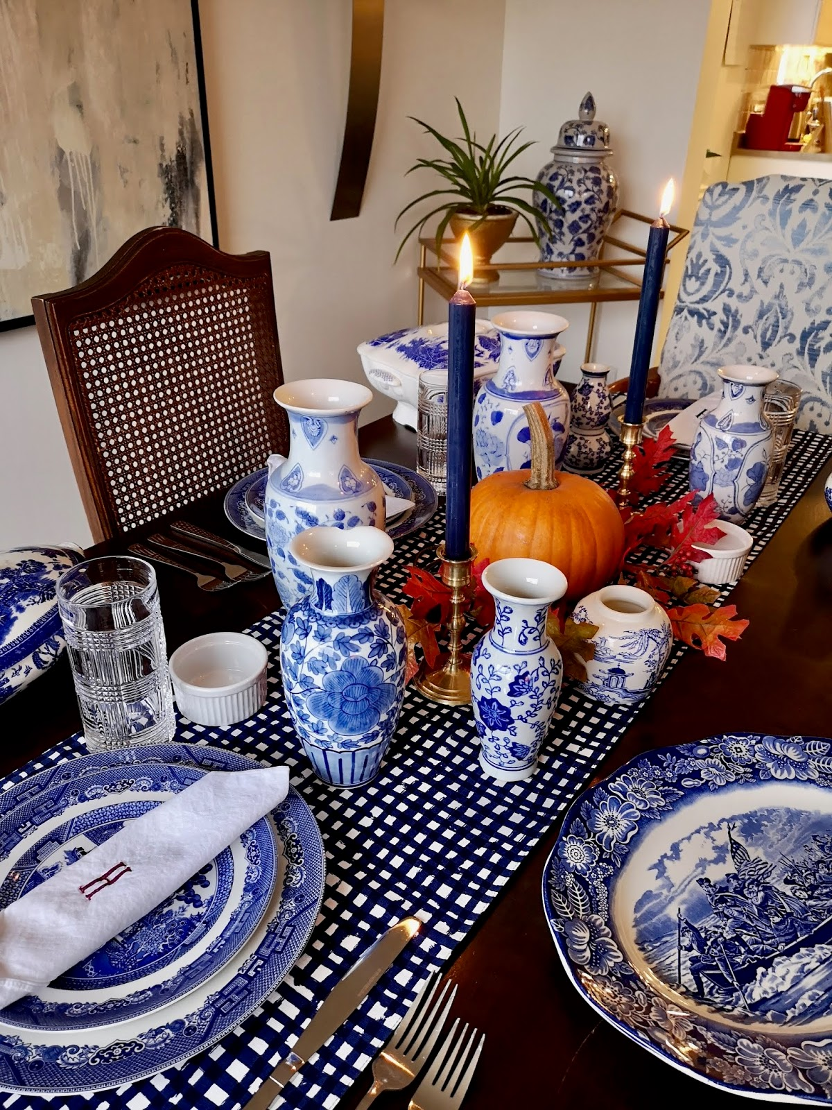 My Blue and White Thanksgiving Table