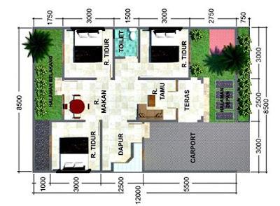 Gambar Rumah Minimalis 1 Lantai 3 Kamar