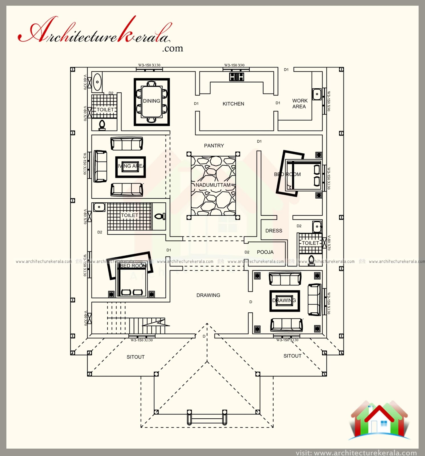 Kerala Home Design February 2016: TRADITIONAL KERALA STYLE HOUSE PLAN WITH TWO ELEVATIONS
