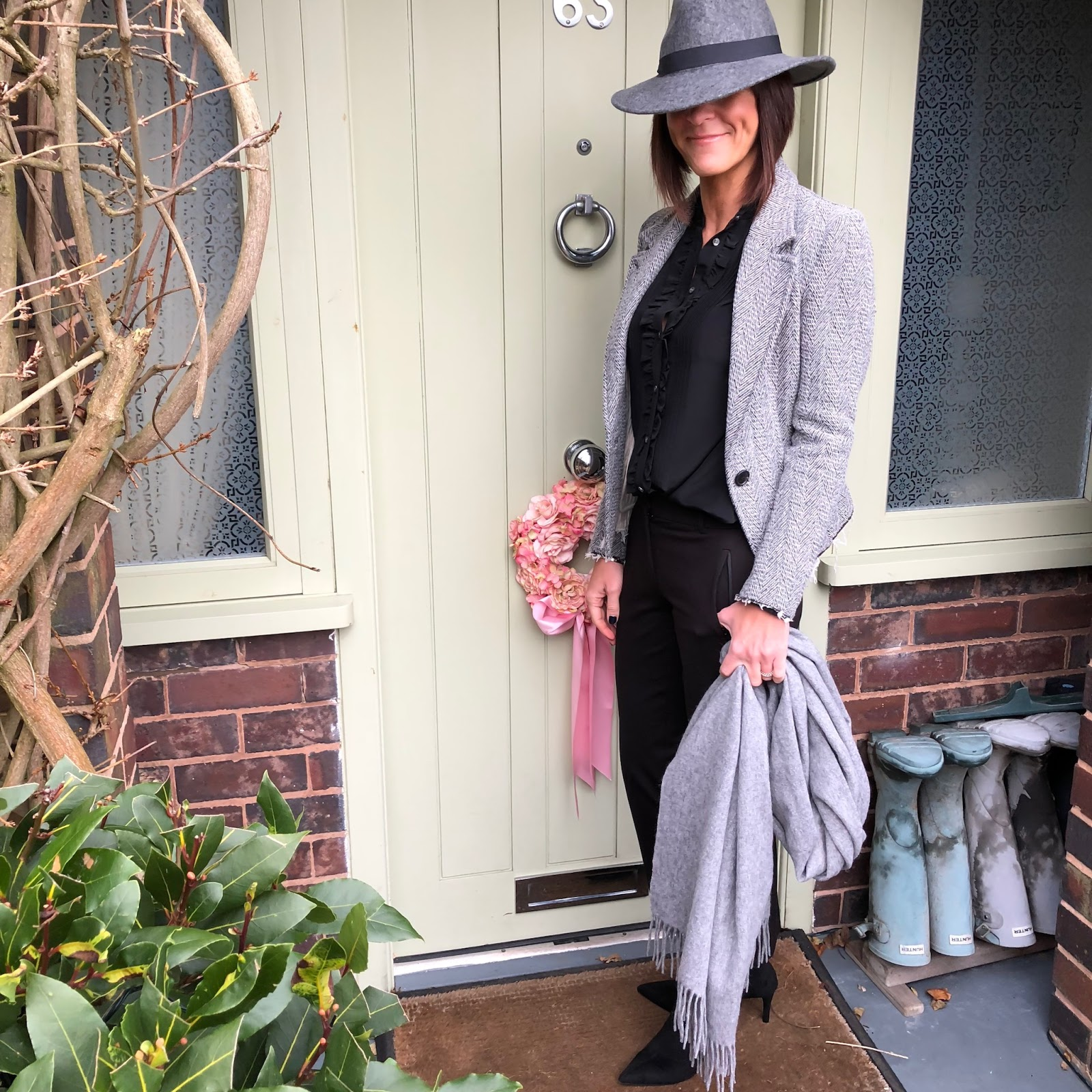 my midlife fashion, zara felt fedora hat, j crew ruffle pleated blouse, j crew cropped kicked flare sammie trousers, and other stories oversized wool scarf, marks and spencer stiletto heel ankle boots, isabel marant herringbone tailored blazer