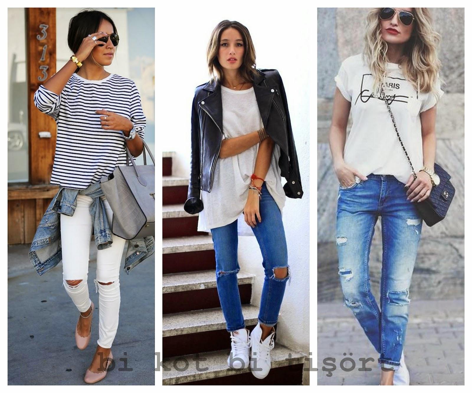 Yırtık Kot Pantolonlar ile Stil Önerileri