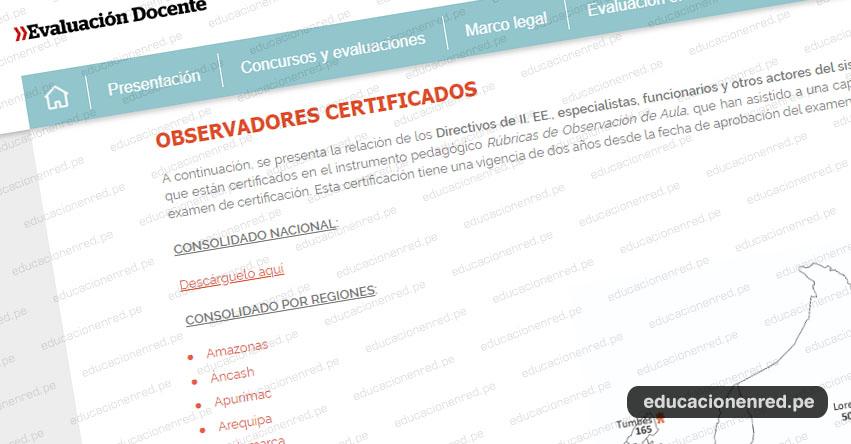 MINEDU publica listado de personas certificadas para la aplicación de las rúbricas