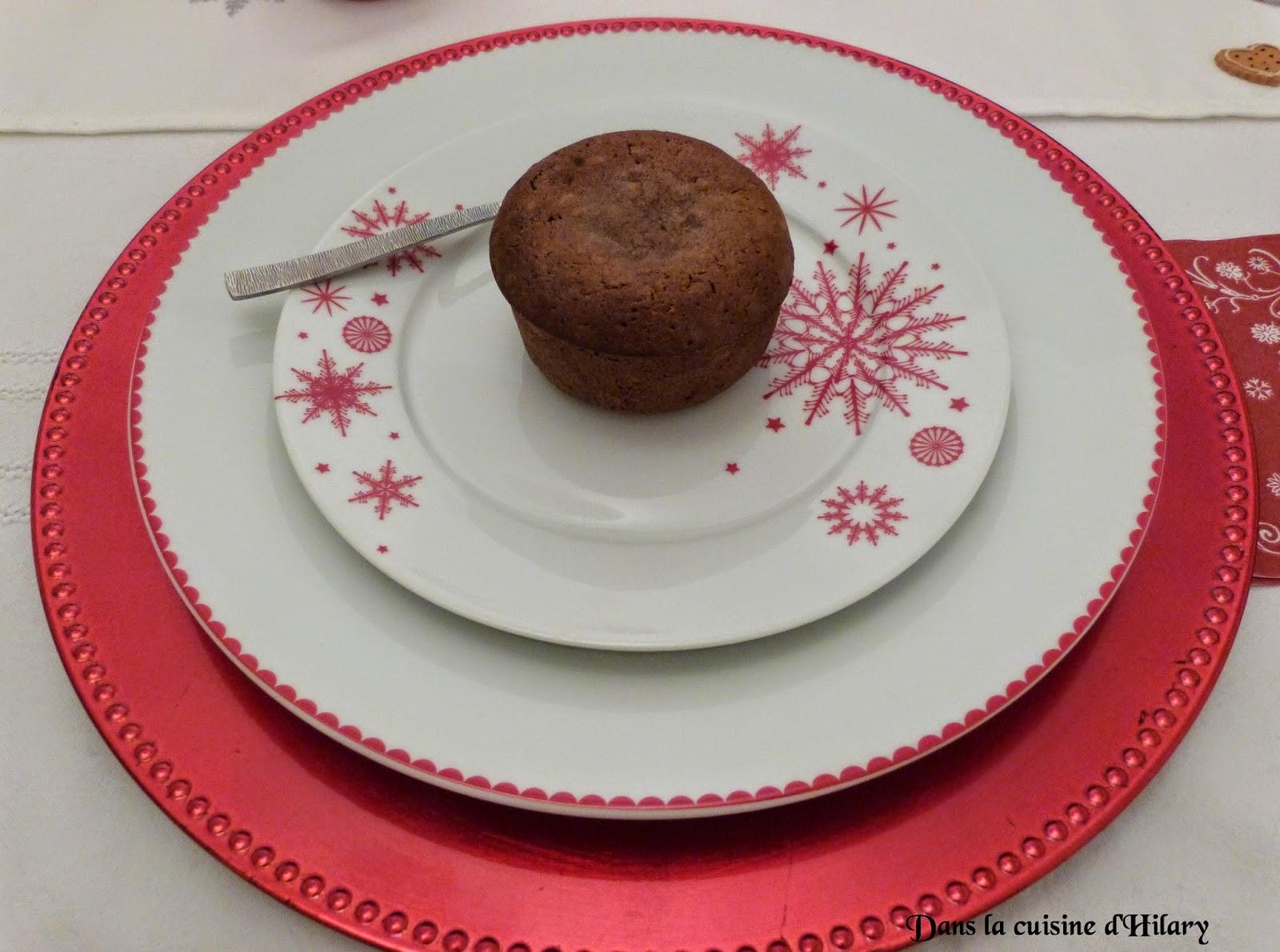 Moelleux chocolat-pistache au coeur coulant de crème anglaise