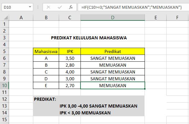 hasil pemberian predikat dengan rumus IF di Excel