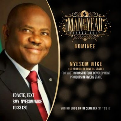 Gov. Nyesom Wike Emerges The Winner Of Silverbird  Man Of The Year Award 2017