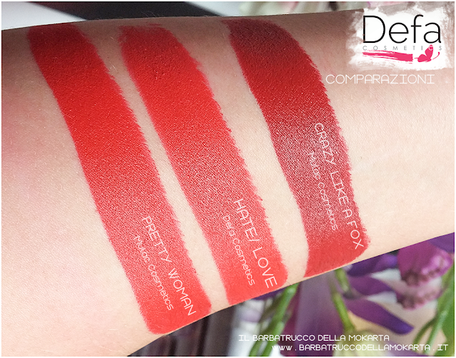 hate/love comparazioni Defa cosmetics lipstick
