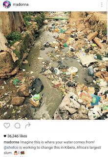 Madonna Kenyan slum social media post