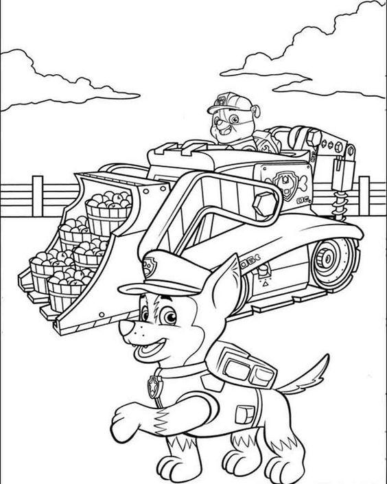 Tranh tô màu chó cứu hộ lái xe