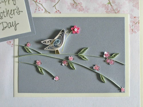 Quilled Bird on Paper Branch with Punched Blossoms and Quilled Leaves Card