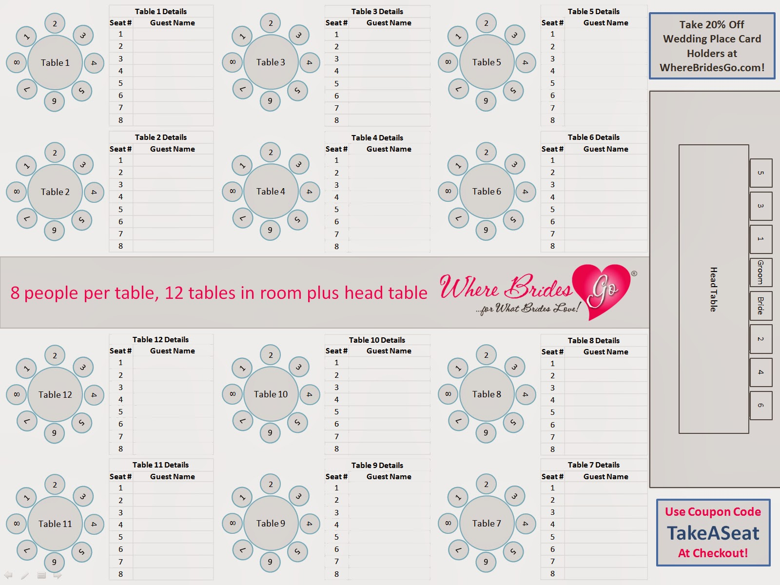 Wedding seating chart template search results calendar for Table seating for 20