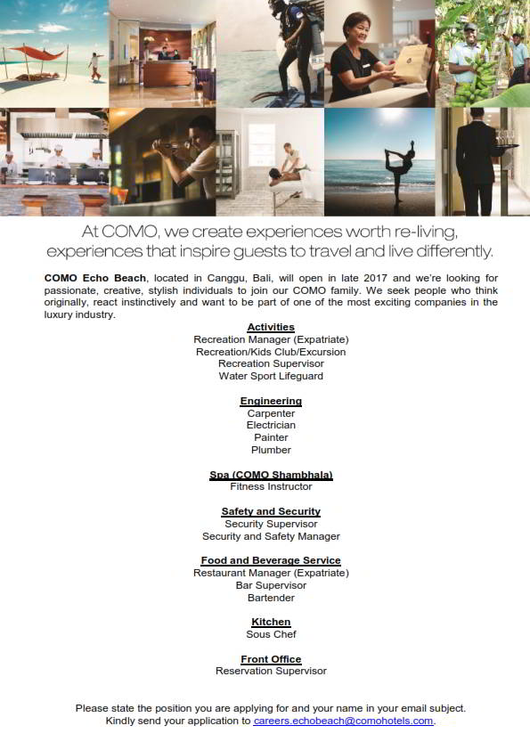 Hotelier Indonesia Carpenter Electrician Fitness Trainer