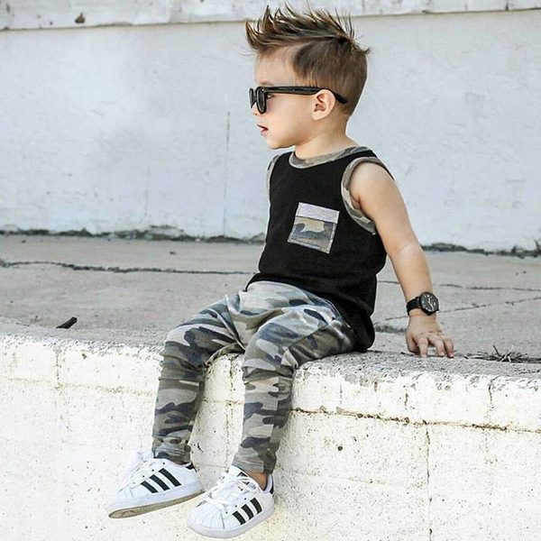 Sleeveless Camouflage Long Pants Boys Sets