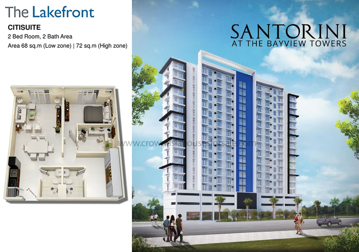 The Lakefront Santorini 2 Bedroom CitiSuite | Crown Asia Houses For ...