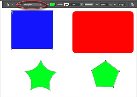 Select individual anchor points on multiple layers in Photoshop CC
