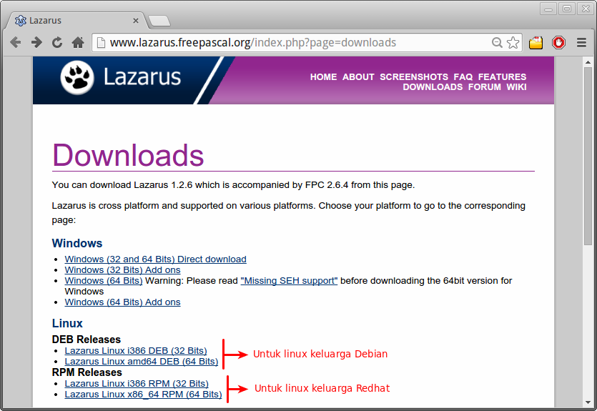Download Lazarus di website resminya