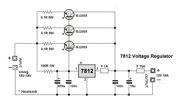 High Current 7812 Voltage Regulator