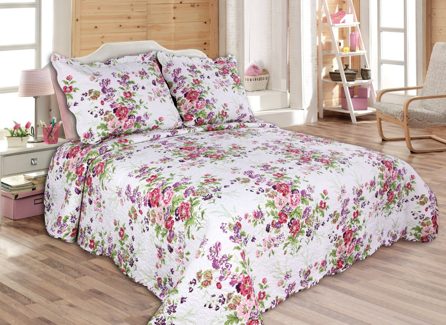 Amazon.com: Laura Ashley Lidia Quilt Set, Pink, Full/Queen
