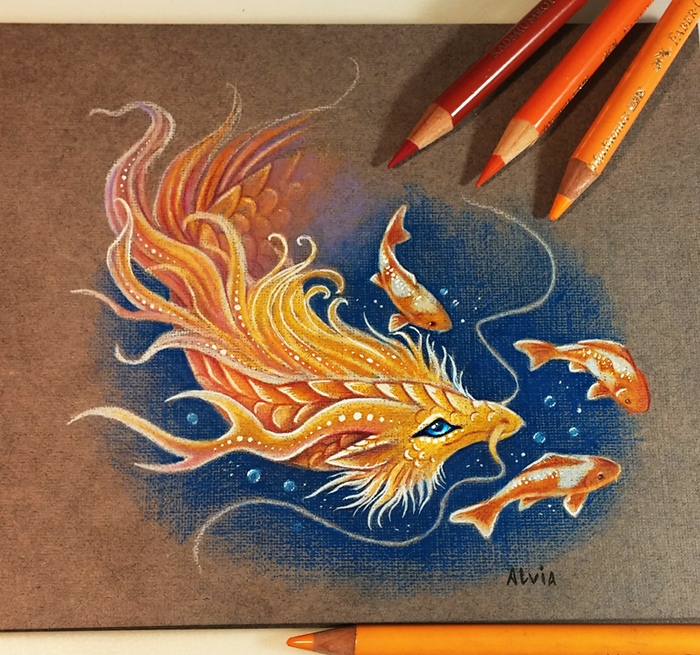 04-Golden-Koi-Dragon-Alvia-Alcedo-Dragons-and-other-Mythical-Magical-Creatures-in-Fantasy-Drawings-www-designstack-co
