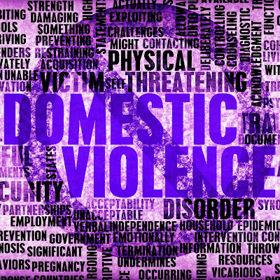 Poster featuring words relating to Domestic Violence in purple.  Wring with cross out mark over the phrase Domestic Violence
