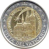 vatikaani 2 euroa kolikko maailman nuortenpäivät 2005