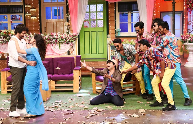 Mubarakan Team on The Sets of Kapil Sharma Show