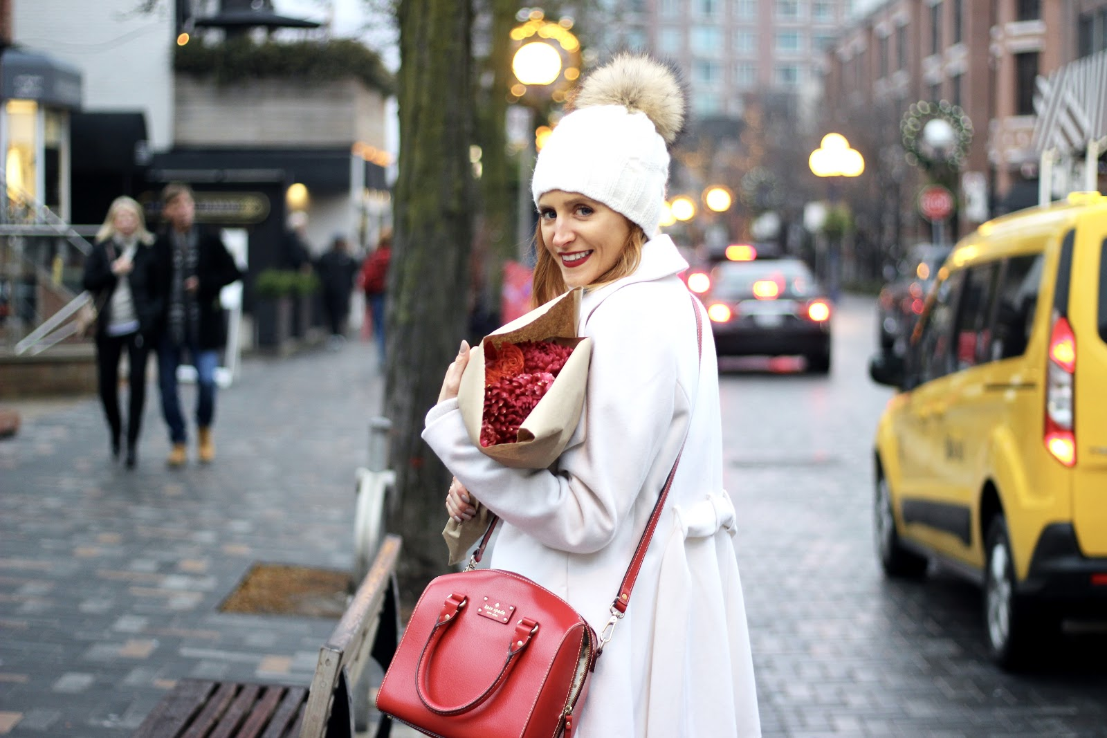 Bloor Yorkville, Parajumpers hat, winter white, winter style, red and white, holiday style.