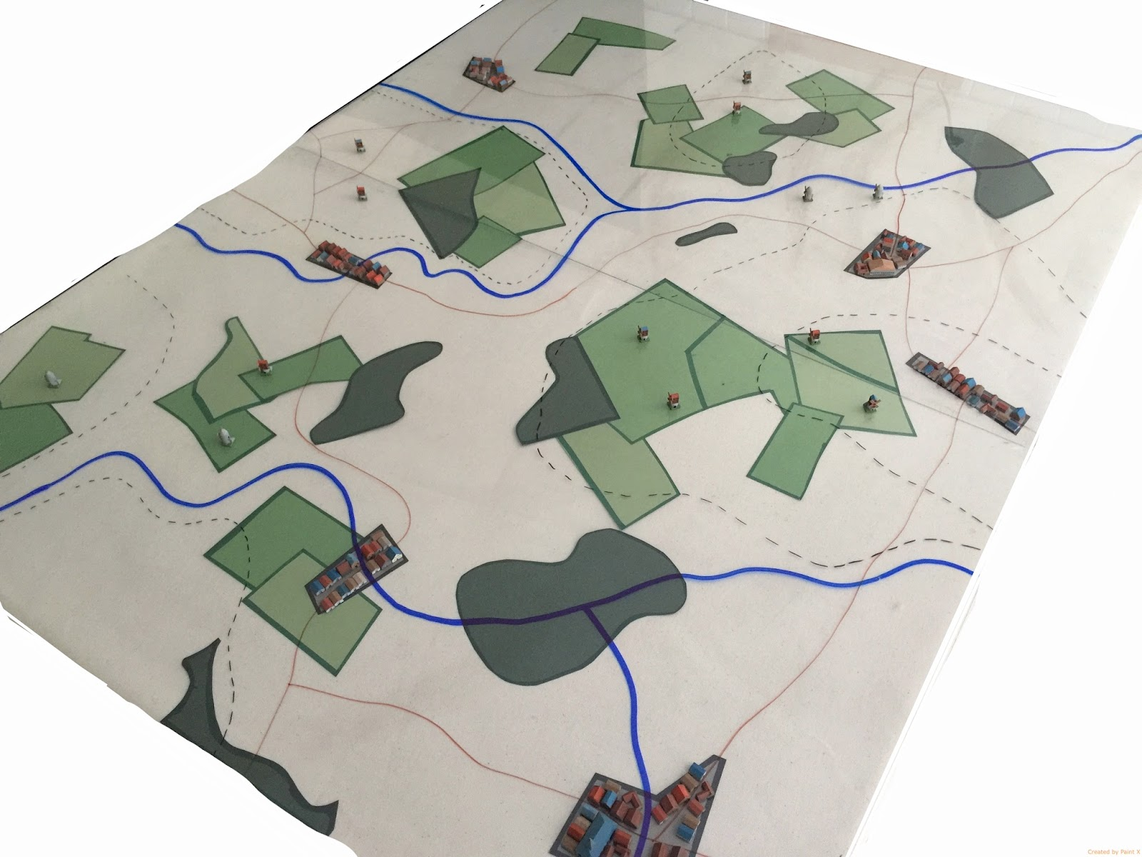 this is largely inspired by the look of period maps what would use blank space to represent open terrain and expressed fields only in places where